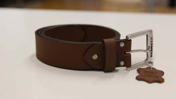 "Leather belt ""2021"" brown"